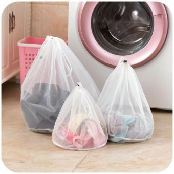 3 Pcs Mesin Cuci Digunakan Mesh Net Tas Kantong Cucian Tebal Wash Bags (putih)