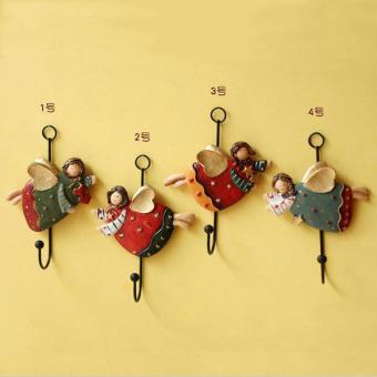 4pcs/set Retro Stereoscopic Angel Girls Wall Hook Creative HomeAccessories Resin Hooks Art Decor Robe