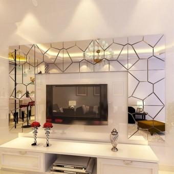 4 Set Pasang Sendiri 3D Akrilik Modern Cermin Stiker Seni Dekorasi Rumah Stiker Dinding Mural Dapat