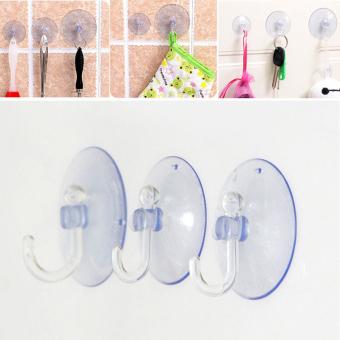 5 buah transparansi kait gantungan dinding dapur Piala suction pengisap aksesori kamar mandi 8 cm