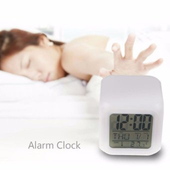 7 LED Color Change Digital Glowing Alarm Thermometer Clock - Jam Alarm Jam  Beker Jam Led 03c696a875