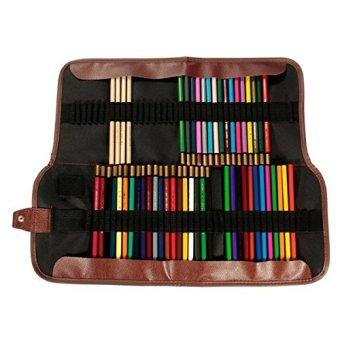 (Black)72 Holes Canvas Pencil Curtain Bag for Art Drawing Color Pencil Case Holder
