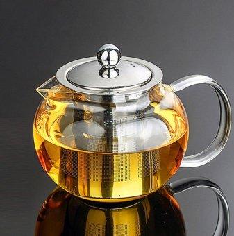 800ml Heat Resistant Glass Teapot Stainless steel Infuser&Lid Tea Herbal Pot - intl