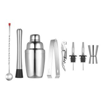8pcs/set Stainless Steel 350ml Cocktail Shaker Mixer Kit withMuddler Corkscrew Jigger Ice Tongs Mixing Spoon Pourers Bar Sets -intl