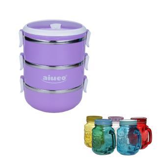AIUEO Eco Lunch Box Stainless Steel Rantang 3 Susun Glossy Bundling Gelas Mug Jar Set 450