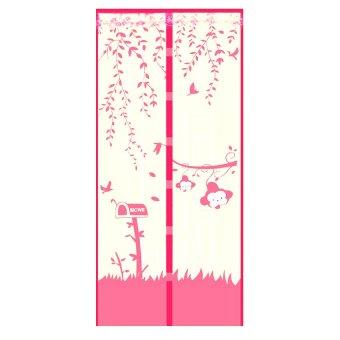 AIUEO Magic Mesh Tirai Magnet Anti Nyamuk Motif Monkey - Tirai Pintu Magnet - Pink