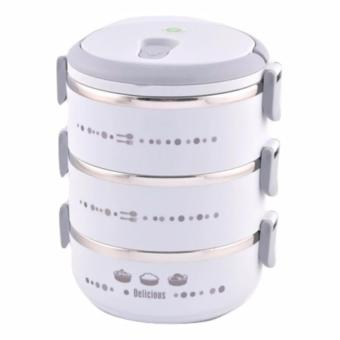 ANGEL Lunch Box Delicious Stainless Steel Rantang 3 Susun - Grey
