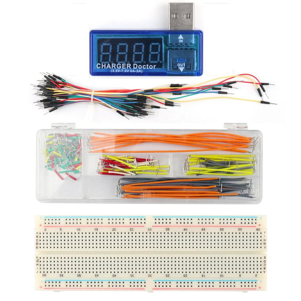 Hot Deals Areyourshop USB Charger Doctor Tester Power Detector + 830 P Breadboard + Jump Wire