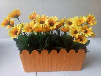 Artificial bunga matahari cantik pot persegi panjang