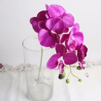 Bunga Sutra Anggrek Kupu-kupu Buatan Buket Phalaenopsis Pernikahan Rumah Dekorasi Gelap Ungu-Intl