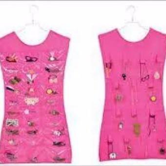 As Seen On Tv Hanging Jewelry Organizer / Rak Gantung Perhiasan - Pink