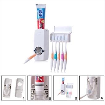 Pemeras Dispenser pasta gigi otomatis + 5 dudukan rak sikat gigi