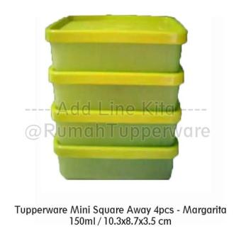 Baru - Tupperware Mini Square Away Margarita (4Pcs Kotak Kecil) - Fourtyshops