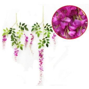 BeautyMaker 12X Buatan Wisteria Palsu Taman Gantung Tanaman Bunga Vine Pernikahan Dekorasi Rumah Merah-violet