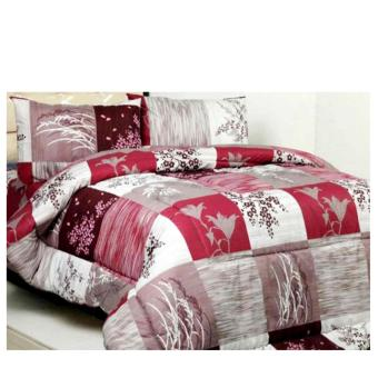 bed cover set jaxine katun bunga padi maroon