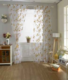 200 Cm X 100 Cm Pola Bunga Kain Tule Jendela Pintu Pembagi Voile Tirai -Kuning