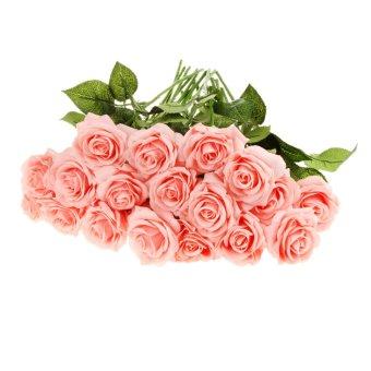 BolehDeals 20 Buket Kepala Bunga Mawar Sutra Buatan Dekorasi Pesta Pernikahan Berwarna Merah Muda
