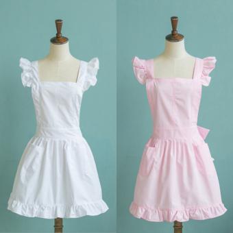 bolehdeals gaya victoria-anak celemek pelayan renda baju kostum berkerut kantong putih