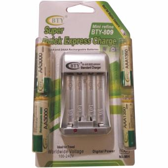 BTY Charger and Rechargeable Battery [AAA/AA 4 pcs] Original