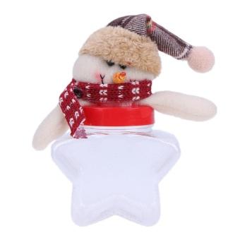 Natal Melingkar Kecil Bintang Berujung Lima Kain Doll Candy Box Candy Jar (Putih)-
