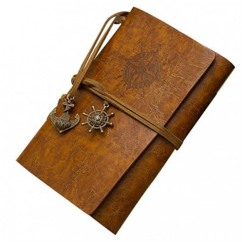 Classic Retro Vintage Leather Pirate Bound Blank Pages NotebookJournal Diary Brown (Intl)