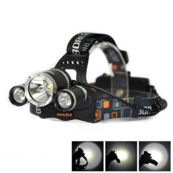 Cree Senter Kepala / Head Lamp Boruit 3 LED XM-L T6 5000 Lumens 18650