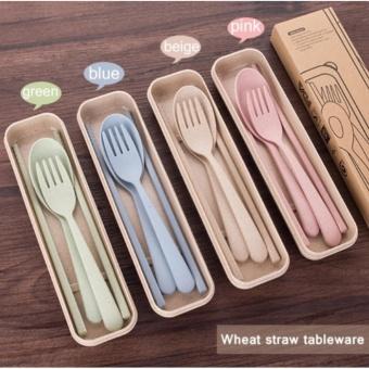 Ramah Lingkungan Jerami Gandum Cutlery Travel Tableware dengan Alat Makan Case Kid's Cutlery Set Korea Portable