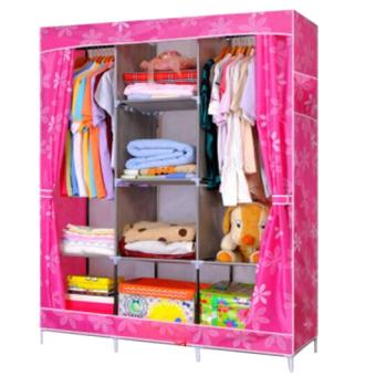 Eigia Rak Pakaian Lemari Baju Rak Penyimpanan Serbaguna Minimalis - Pink