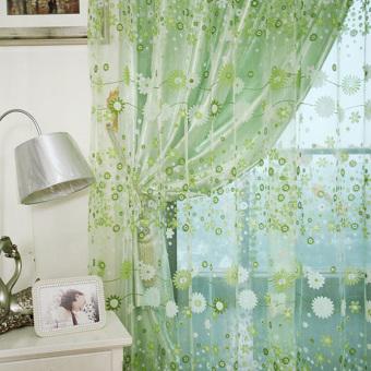 Pencari Harga Floral Printed kain tule kain pual jendela panel tirai gorden tipis 200 cm x