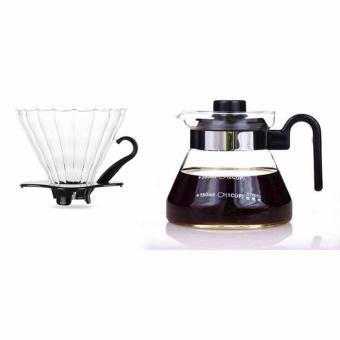Glass Coffee Dripper dan Pot Set (Hitam) untuk Hario V60-Intl