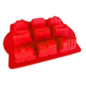Griya Cetakan Kue Puding Jelly Bolu Train 3D Silikon Warna Random .