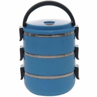 Harga Quincy Home Eco Lunch Box Stainless Steel Rantang 3 Susun - Blue