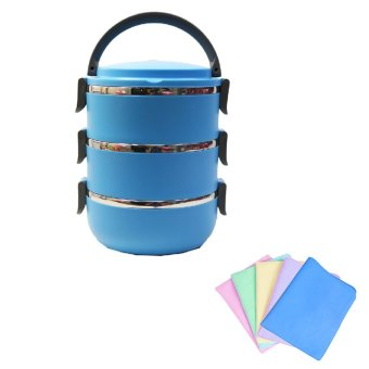 Harga Misson Eco Lunch Box Stainless Steel Rantang 3 Susun - Blue - Bundling Lap Plas Chamois