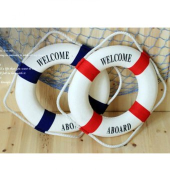 Harga Welcome Aboard Nautical Life Lifebuoy Ring Boat Wall Hanging Home Decor Blue 14