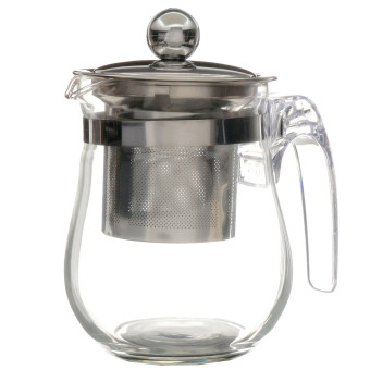 Harga 350 ml panas lama jelas teko kaca Stainless Steel Infuser teh Pot bunga