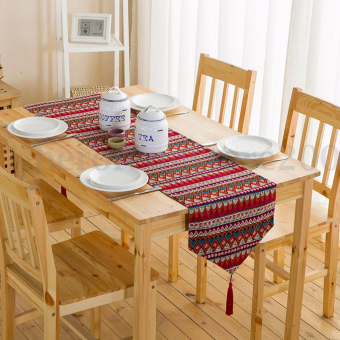 Harga BolehDeals 30*220cm Bohemian Table Runner Tassel Cotton Tablecloth Cover Mat Decor-Red