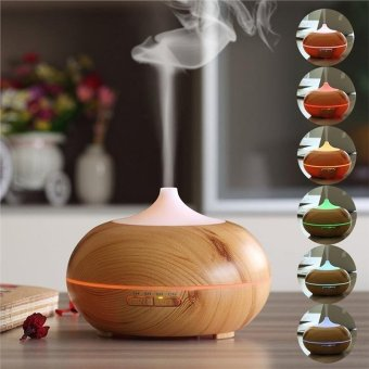 300ML Ultrasonic Air Humidifier Aroma Essential Oil Diffuser Mist Diffuser Colorful Purifier - Shallow Wood Grain
