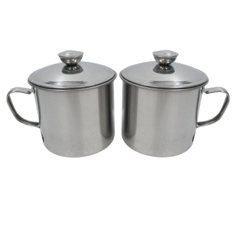 Harga Mitra Loka - Mug Stainless 10cm / Oil Pot Set 2 Pieces - Abu