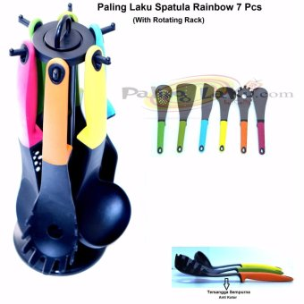 Harga Paling Laku Spatula Rainbow/ sutil set + Rotating Rack 7 Pcs