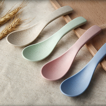 4 Pcs Wheat Straw Dinner Soup Spoons Multi Colors Eco friendly