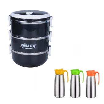 Harga AIUEO Eco Lunch Box Stainless Steel Rantang 3 Susun Glossy Bundling Teko Minum Stainless Steel Tahan Panas - Pitcher Water Stainless Steel Random Colour