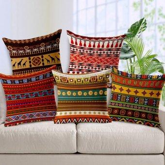 Harga Nasional Afrika angin garis kotakimiya Linen katun dan Linen bantal luar 45 cm x 45