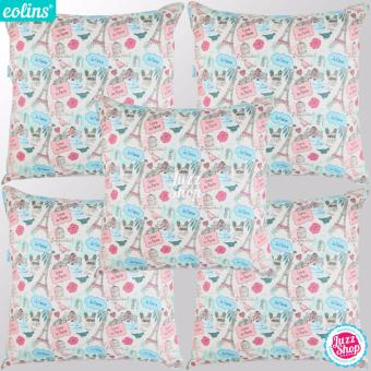 Harga Eolins 5 Sarung Bantal Sofa Love In Paris JSPS088 Krem
