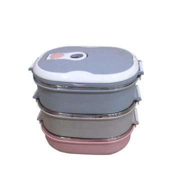Harga Dinemate Eco Lunch Box Stainless Steel Rantang Oval 3 Susun