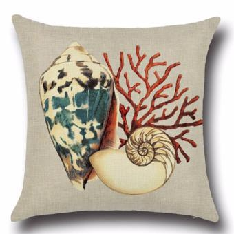 Hanyu Seaworld Series Conch Pillow Case Cover Home Sofa Decorative - intl