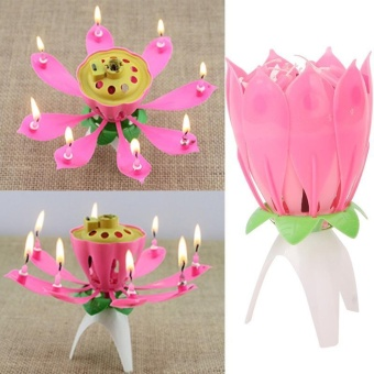 Harga High Quality Store New Lovely Flower Happy Birthday Blossom Lotus Musical Candle Romantic Party Gift