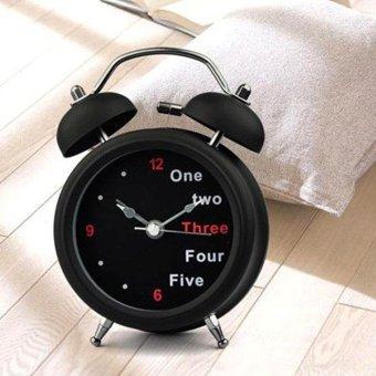 Harga Popular Arrival Classic Number/English Retro Double Bell Desk Table Alarm Clock Black -