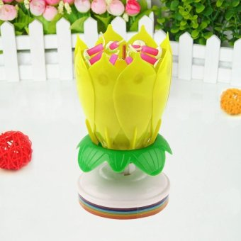 Harga Magical Blossom Lotus Musical Rotating Candle color:Yellow - intl