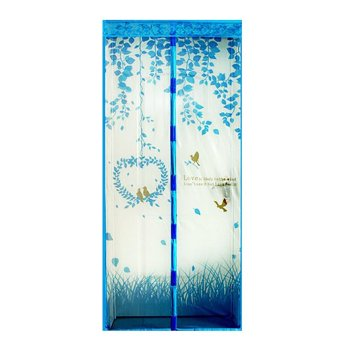 Harga Magic Mesh Tirai Magnet Anti Nyamuk Motif Heart And Bird - Tirai Pintu Magnet - Biru
