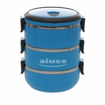 Harga AIUEO Eco Lunch Box Stainless Steel Rantang 3 Susun - Blue